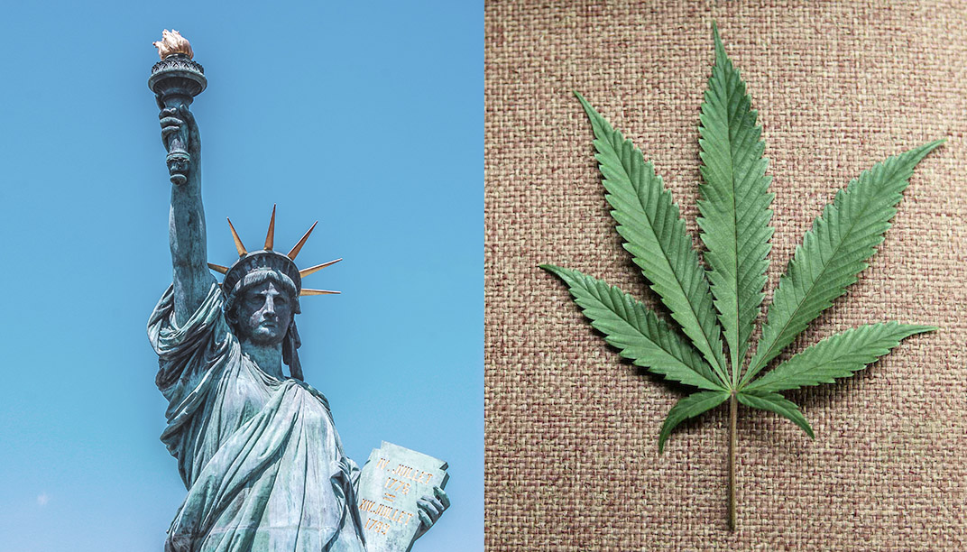 the statue of liberty and cannabis leaf, cannabis industry